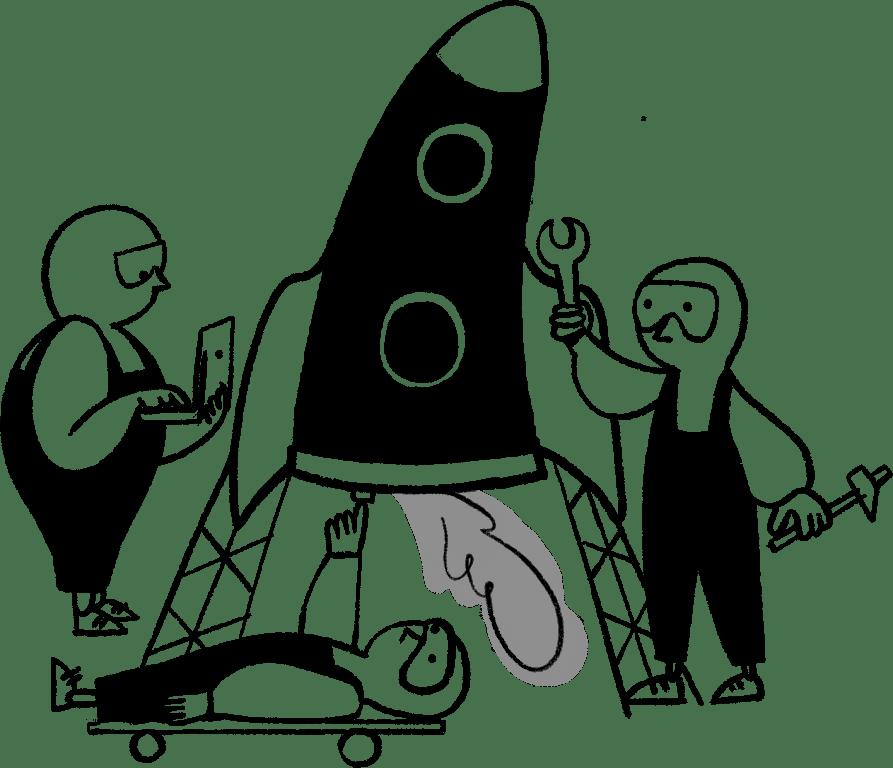 Sarjakuvamaisesti piirretty kuva, jossa kolme hahmoa rakentaa rakettia. Työssäoppimista tapahtuu työnteon lomassa.